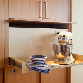 Great idea. I would put the blender and the cuisinart on this (not the kitchen aid mixer)