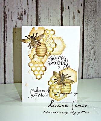 Spellbinders Honey Bee die set coloured with distress inks & Nuvo embellishment mousses.  Lulu and Cardmaking.  #spellbinders  #spellblogger  #neverstopmaking