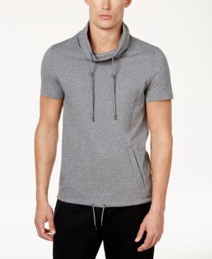 Calvin Klein Men's Slim-Fit Funnel-Neck Short-Sleeve Sweatshirt - Gray XXL