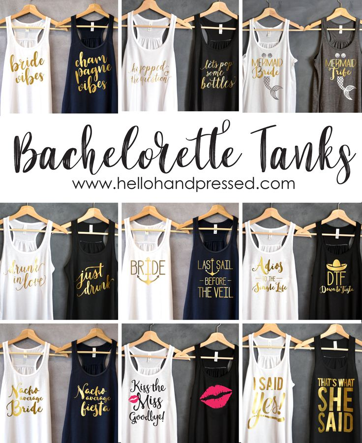 Bachelorette Party Shirts. Bridal Party Shirts. Bridesmaid Shirts. Wedding Shirts. Bridal Tank Top. He popped the question Shirt. Bride Gift. These tops are super cute and comfy. Perfect for getting ready on your Special Day, Bachelorette Parties, Wedding Pictures, Wedding Dress Shopping, Bridal Shower Gift and so much more. Look At These Cute Bachelorette Party tanks I Found!  SHOP HERE: https://www.etsy.com/shop/HelloHandpressed?ref=l2-shopheader-name&section_id=17961447