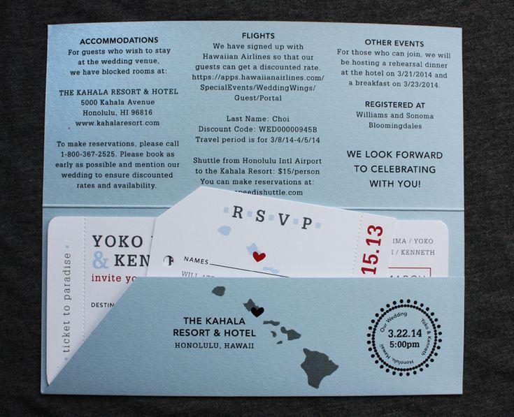 Light Blue, Gray U0026 Red Hawaii Map Modern Boarding Pass Wedding Invitations