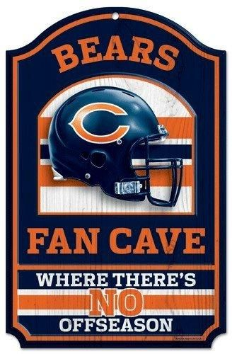 "The NFL Wood Chicago Bears Fan Cave Sign is 11"" x 17"". It is durable and wipes clean. Use Indoors or outdoors. Made with vibrant colors. Made in the USA.  Visit SportsFansPlus.com for Details."
