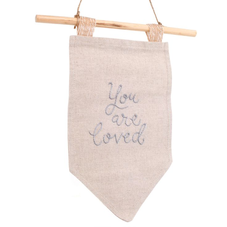 """Embroidered """"You are loved"""" Flag by Embroiderwee"""
