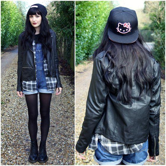Choies Hello Kitty, Cheap Monday Check Shirt, Topshop Dungarees, Topshop Leather Jacket