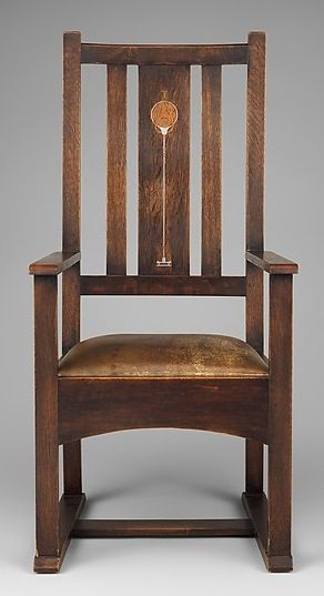 Gustav Stickley, American; Syracuse, New York; oak armchair with pewter, copper and wood inlays
