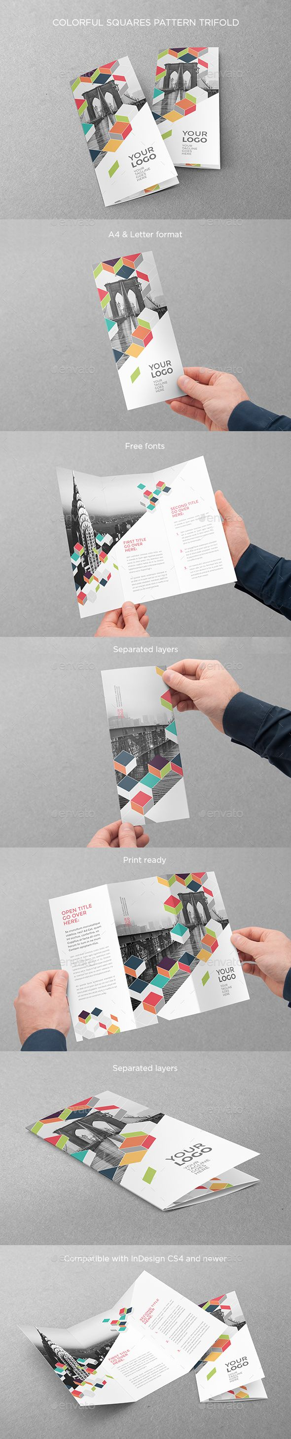 Colorful Squares Pattern Trifold Brochure Template InDesign INDD Download here