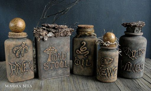 DIY:  Recycled Containers Get A Facelift For Halloween - this is an unbelievable transformation!!! The bottles are plastic vitamin bottles, the writing is from a glue gun and the bottles were painted with chalk paint.