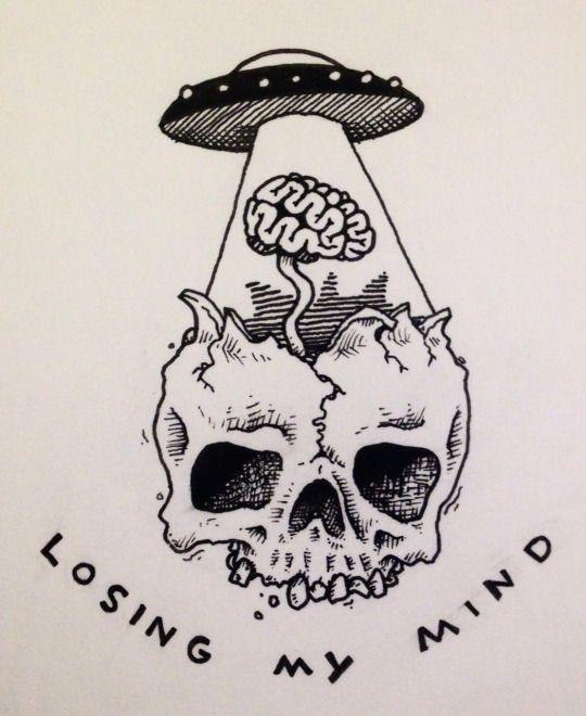 Losing my mind. | By ? [Skull - Illustration - UFO]