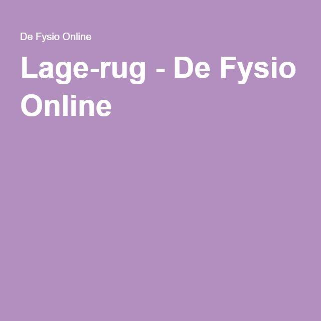 Lage-rug - De Fysio Online