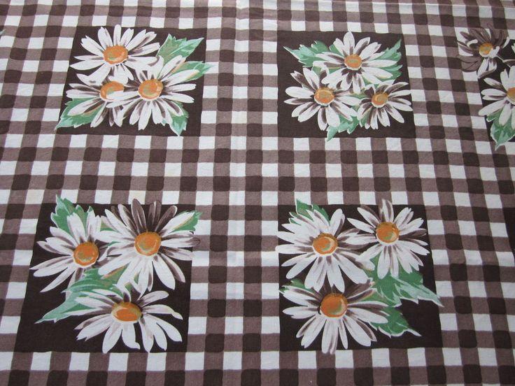 Vintage Tablecloth Floral Brown Wilendur Shasta Daisy Checks 54 X 49 I8666    EBay