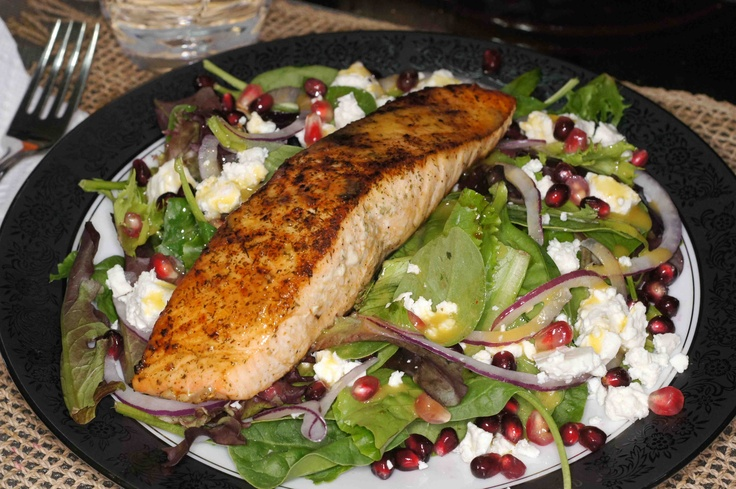 Salmon, Pomegranate, Feta Salad with Lemon Dijon Vinaigrette