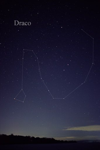 Draco constellation- Draco was a dragon, who during his attack on mt. Olympus, was thrown into the sky by the goddess Minerva.