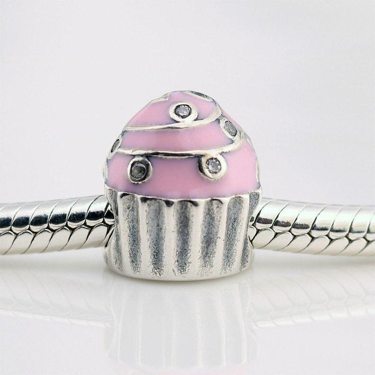 Coppa di Gelato con smalto rosa zirconi chiari 100% argento sterling 925 adatta misure Pandora charm Pandora bead Braccialetto europeo P-245 di OceanBijoux su Etsy