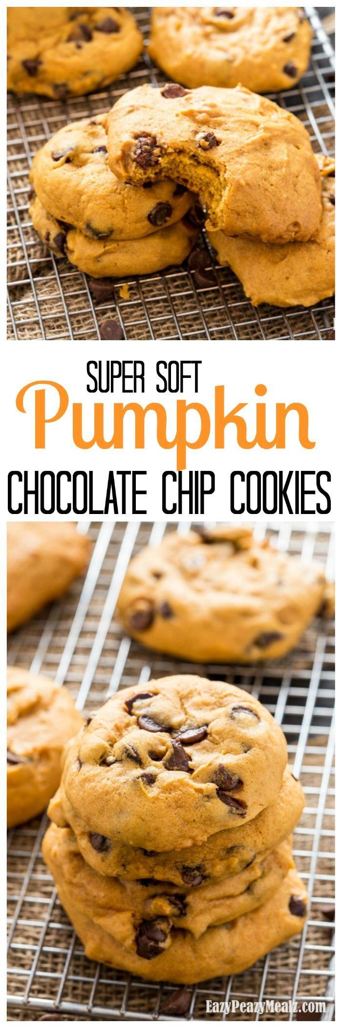 Super Soft Pumpkin Chocolate Chip Cookies: Super soft, and oh so pumpkin-y, this big batch recipe makes delicious pumpkin chocolate chip cookies! - Eazy Peazy Mealz