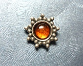 Large Sterling Silver Amber Sun Microdermal Jewelry