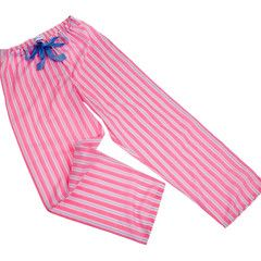 Fine Egyptian cotton candy stripe PJ bottoms, from a selection at www.thepyjamahouse.co.uk - size age 9-10 to tall adult