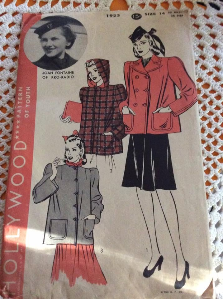 Vintage 1930s 1940s Jacket Pattern HOLLYWOOD PATTERN Actress Joan Fontaine Complete Pattern # 1923 by TimelessTreasuresVCB on Etsy
