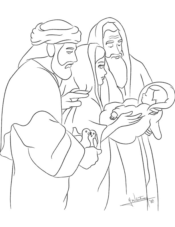 presenting jesus in the temple anna and simeon coloring page for temple craft in easter week