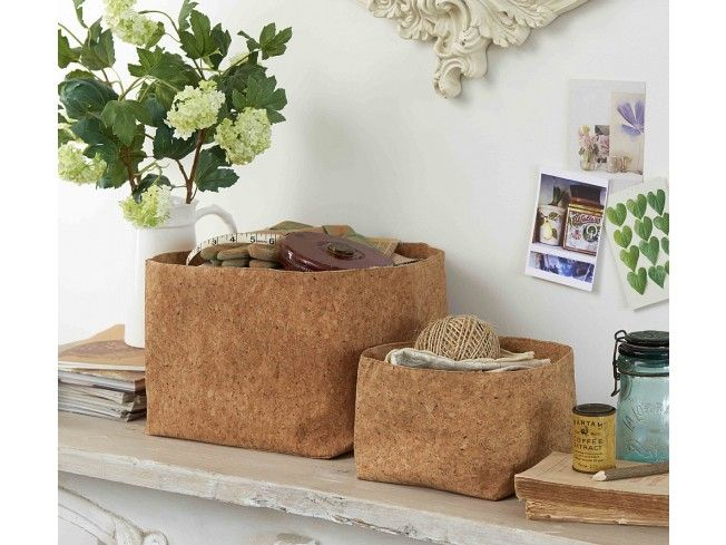 We've never seen anything like this product before! These baskets are made in a novel and interesting way, cork is backed onto fabric and feels soft to the touch and pliable. They come in their own stylish presentation bags, and make an excellent gift idea. Either way someone will be very happy to have them: great in the #bedroom, #living room or #hallway - anywhere you need a #basket. #Home #Storage