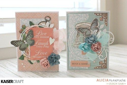 'Set of 2 Butterfly' Cards by Alicia McNamara Design Team member for Kaisercraft using their 'Ooh La La' collection (October 2016). saved from kaisercraft.com.au/blog/ - Wendy Schultz - Cards 1.
