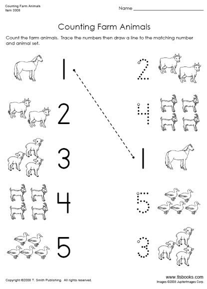 Snapshot image of Counting Farm Animals math worksheet ...