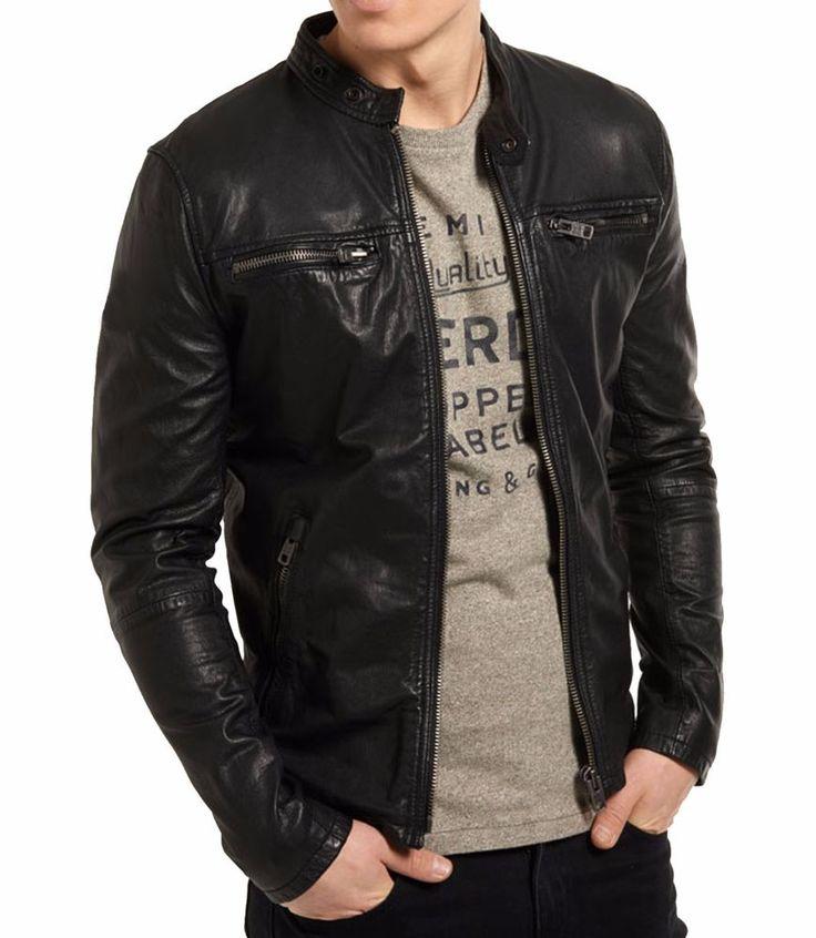 Lambskin Leather Jacket Genuine Mens Stylish Motorcycle Biker Black slim fit X81 #WesternOutfit #Motorcycle