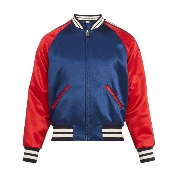 Gucci Reversible striped-detail satin bomber jacket (77,960 THB) ❤ liked on Polyvore featuring men's fashion, men's clothing, men's outerwear, men's jackets, dad, men, navy multi, mens navy jacket, mens blouson jacket and mens slim jacket