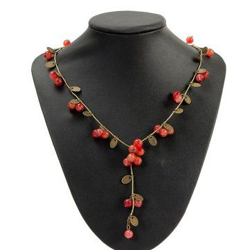 Vintage Red Cherries Beads Long Chain Necklace For Women //Price: $6.60 & FREE Shipping //     #women watch  #Legging  #Jewelry  #Dresses  #Ring  #Yoga Pants