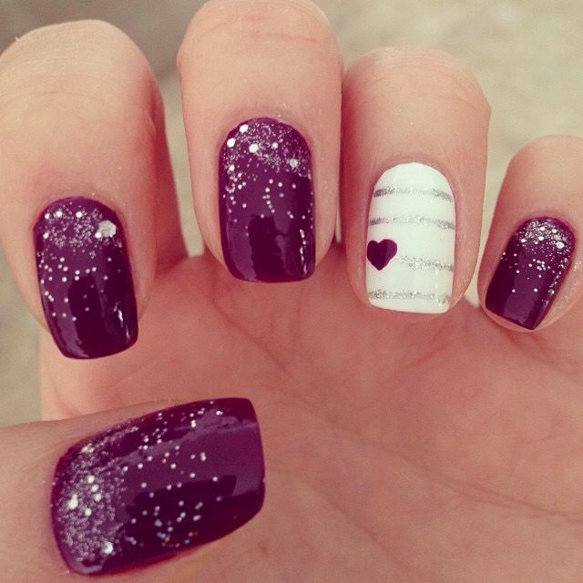 Purple nails, heart nails, Valentine's Day nails
