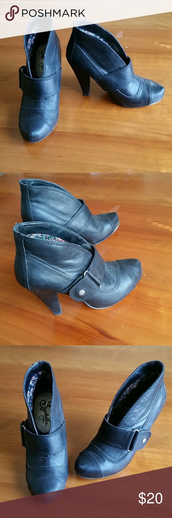 Seychelles Boots Seychelles black booties. Open front with side buckle. Easy and comfy slip on.  Good used condition. Seychelles Shoes Ankle Boots & Booties