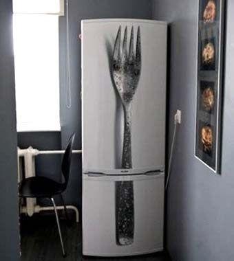 необычный декор холодильника