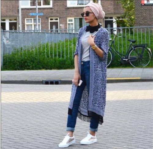 fringe kimono cardigan turban style- Chic hijab outfits from instagram http://www.justtrendygirls.com/chic-hijab-outfits-from-instagram/