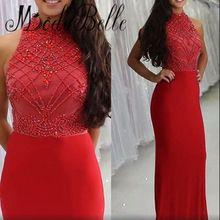2017 Sparkly Longo Apertado Vestido de Baile Vermelho Frisado Cristais Alta Neck Ver Através Voltar Sexy Vestidos Formais Longos da Noite Alta qualidade alishoppbrasil