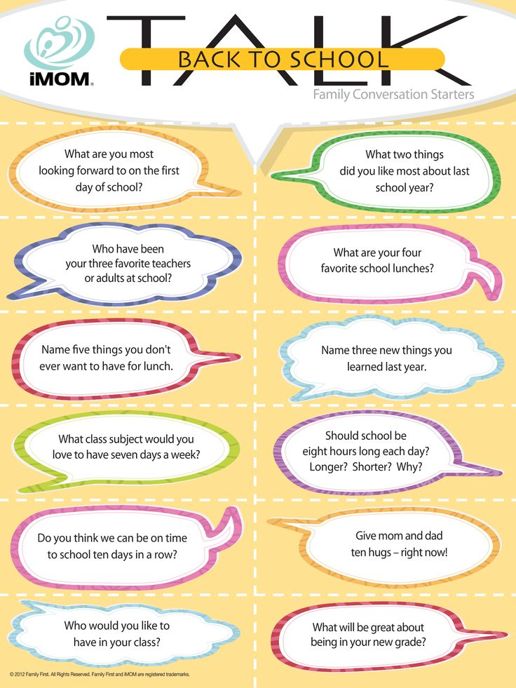 Back To School Talk, Conversation Starters