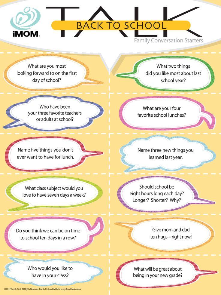 Back To School Talk, Conversation Starters