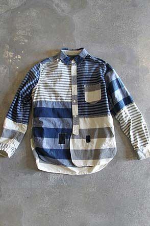 Shirt | Blue and white stripes | Patchwork - composite