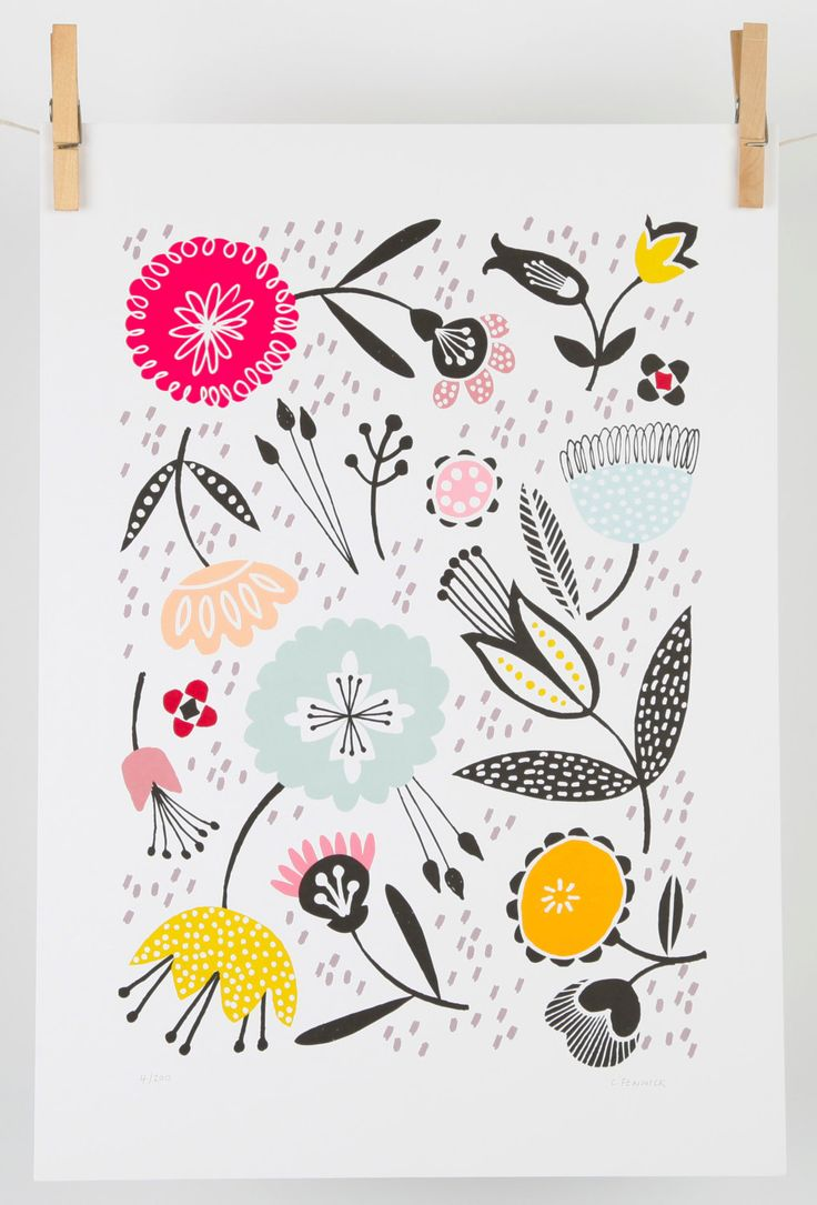 Mid century floral art print by MaggieMagoo Designs, available in A3 & A4 sizes by maggiemagoodesigns on Etsy