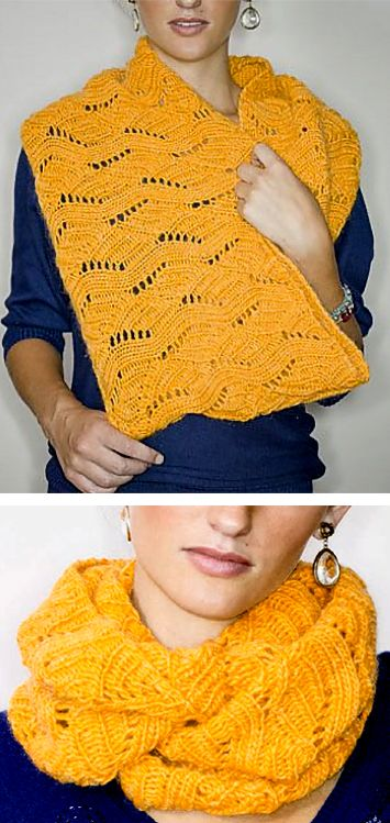Free Knitting Pattern for Maryse Infinity Scarf - Reversible lace pattern used in this cowl infinity scarf. Could easily be used to make a reversible flat scarf, blanket, or shawl. Worsted weight yarn. Designed by Amy Christoffers