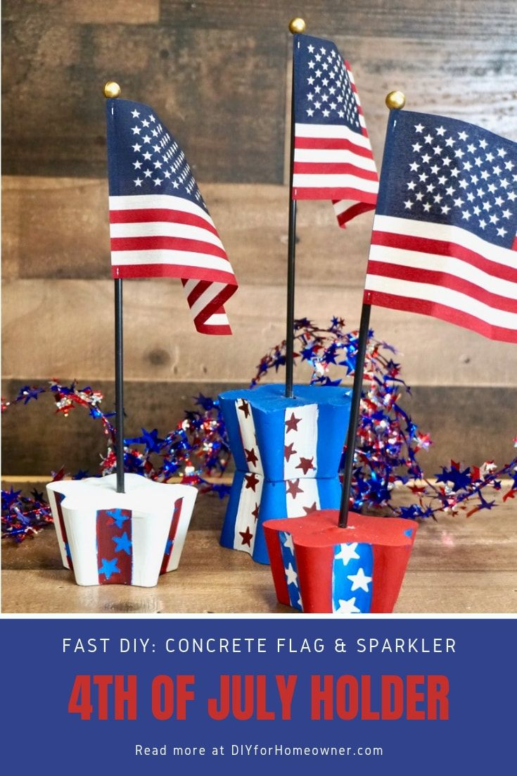 DecoArt Painted 4th of July Concrete Flag Holders