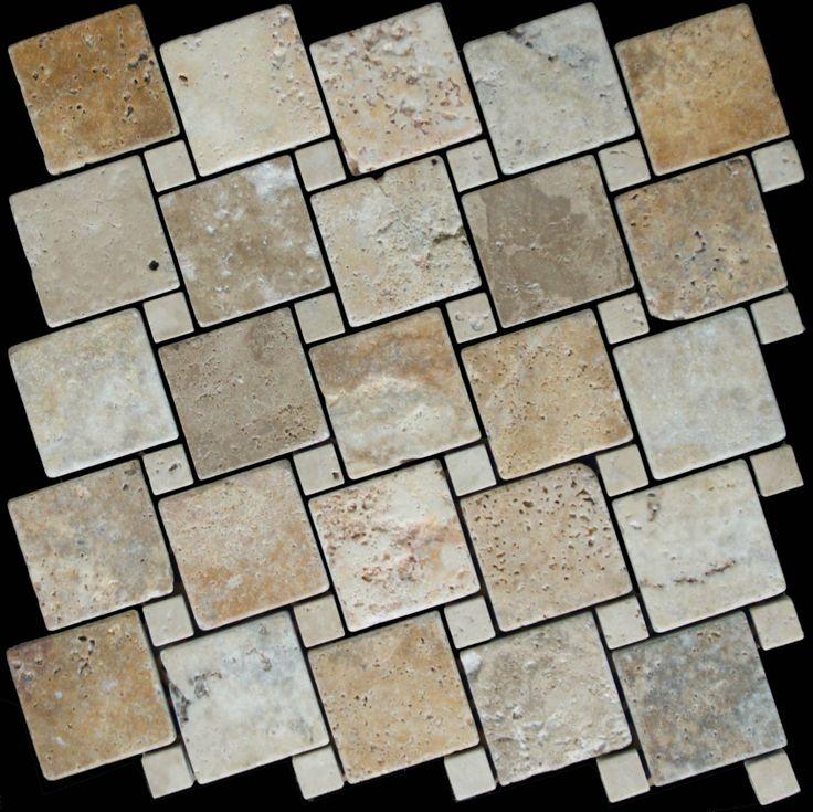 Mozaika marmurowa -  Kolekcja: Tetra 5015 Wave; Kod: TW501510; Wykończenie: ANTICO; Materiał: Travertino Scabas, Travertino Navona; Wym. Kostki: 5,0x5,0 cm, 1,5x1,5 cm; Wym. Plastra:  28,7x28,7 cm
