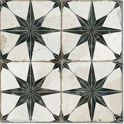 TILE DEALS / SAMPLES: Costa Granada Black White Victorian Encaustic Floor Tiles