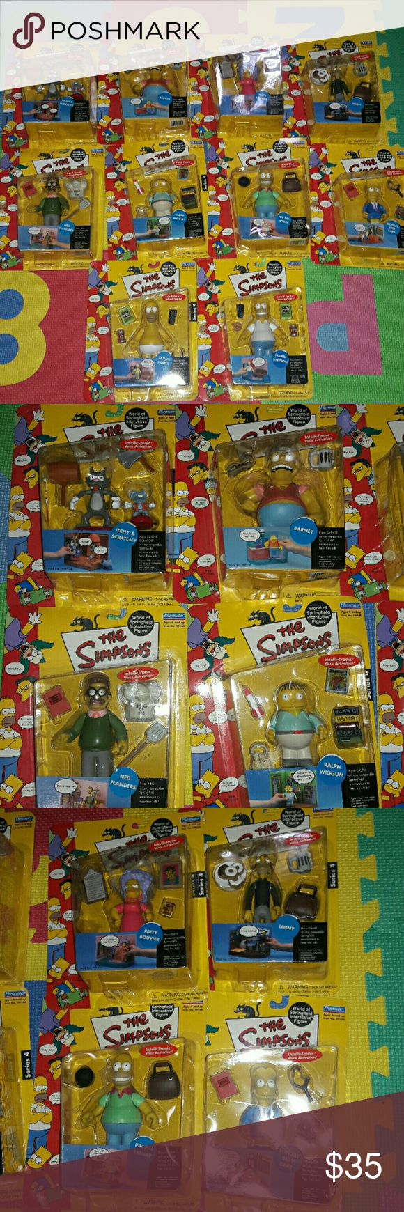 Playmates Simpson's World Springfield Interactive. New and sealed box.? Bundle of 10 figurines.? The simpsons playmates Intelli- Tronic? Voice activation.? Itchy and scratchy? Barney? Patty Bouvier? Lenny? Ned Flanders? Ralph Wiggum? Homer Simpson? Pin pal Homer? Sunday best Bart? Casual Homer Other