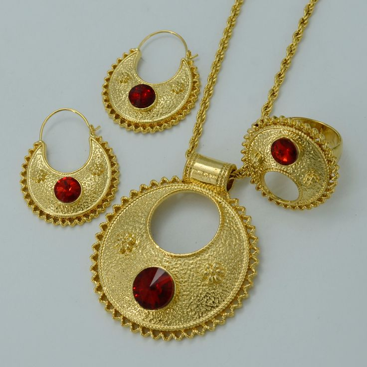 Stone Ethiopian New Jewelry sets Pendant Necklaces/Earrings/Ring Ethiopia Gold Plated Africa Bride Wedding Eritrea sets #015906
