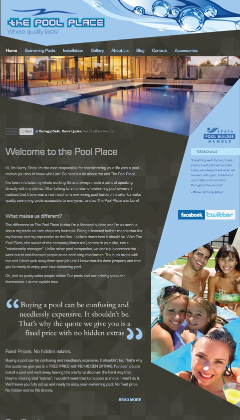icu2 developed this website for The Pool Place. It included a full rebrand, web design, content development, and basic SEO. Visit http://www.thepoolplace.com.au    For more information about icu2 range of web design & development services, please visit www.icu2.com.au. More recently, icu2 upgraded the website to be fully mobile compatible and responsive.