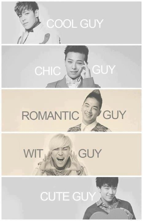 I don't agree with this. It should be: T.O.P. (Wit guy), G-Dragon (Chic guy)…