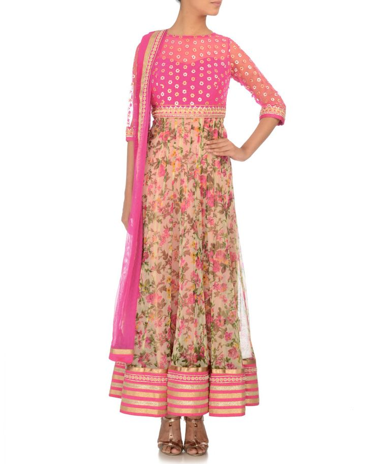 Fuchsia & Cream Anarkali Suit with Floral Print