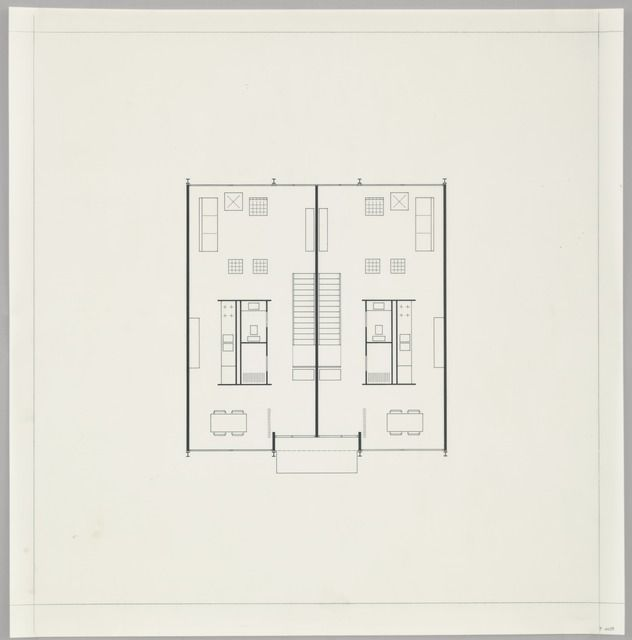 Ludwig Mies van der Rohe. Pavilion Apartments and Town Houses, Lafayette Park, Detroit, MI, Plan (Two-story town house. First-floor plan.). 1955-63