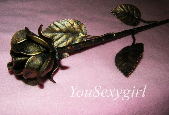 Anniversary Gift Metal Rose Iron Rose hand forged by YouSexygirl
