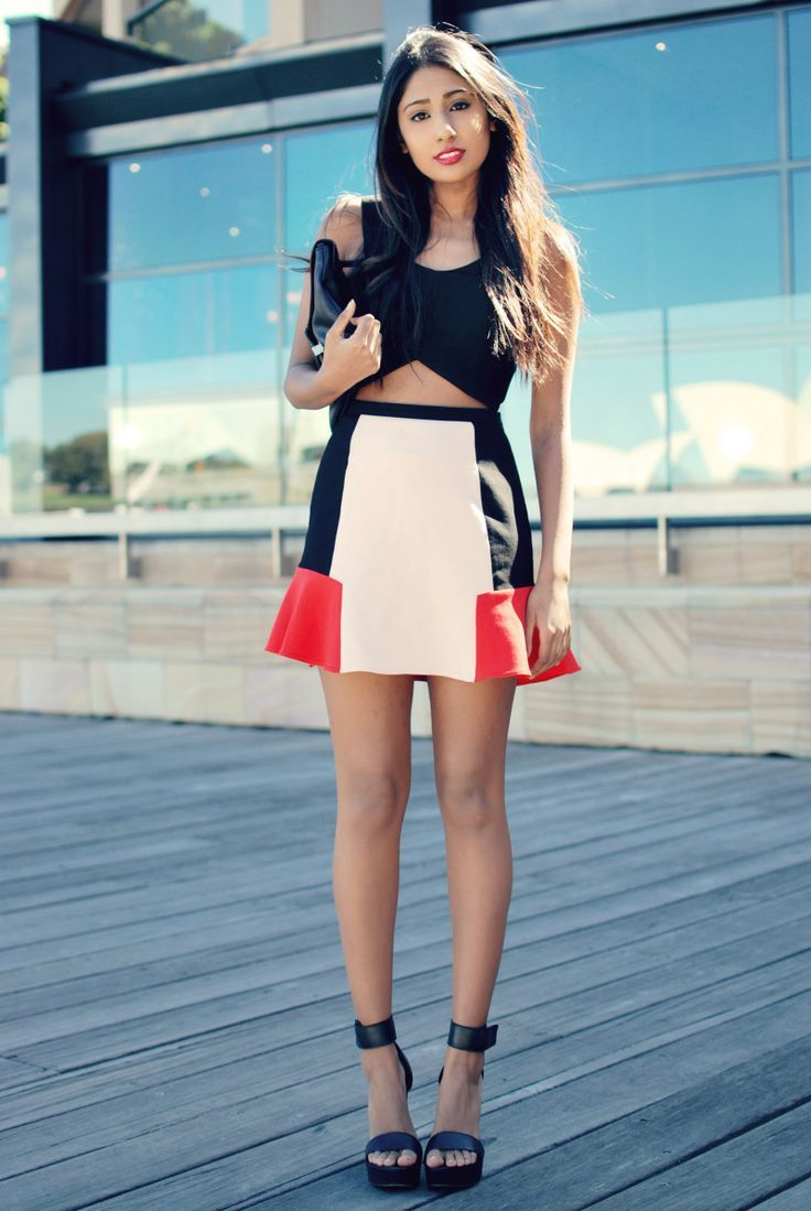 crop top and fluted skirt