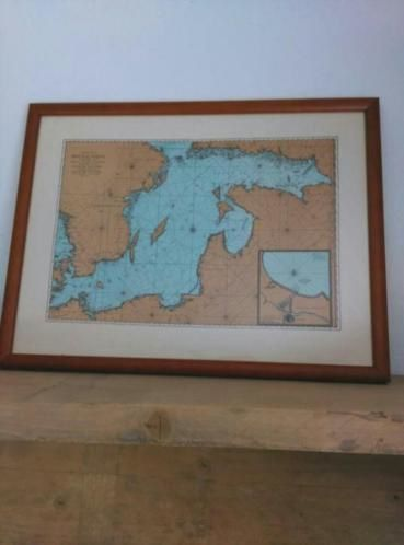 Oude Antieke Prent Zeekaart in Lijst Baltische Zee Oostzee 1693